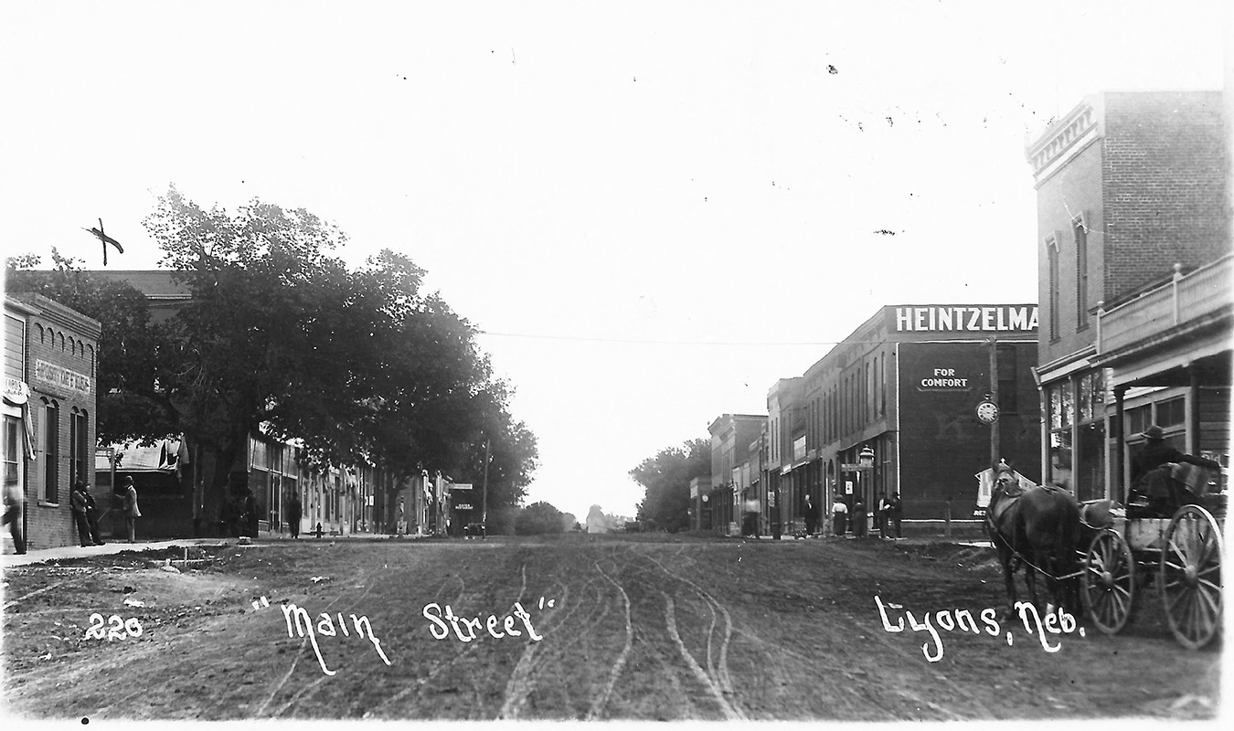 Early photo of Main Street, Lyons, NE