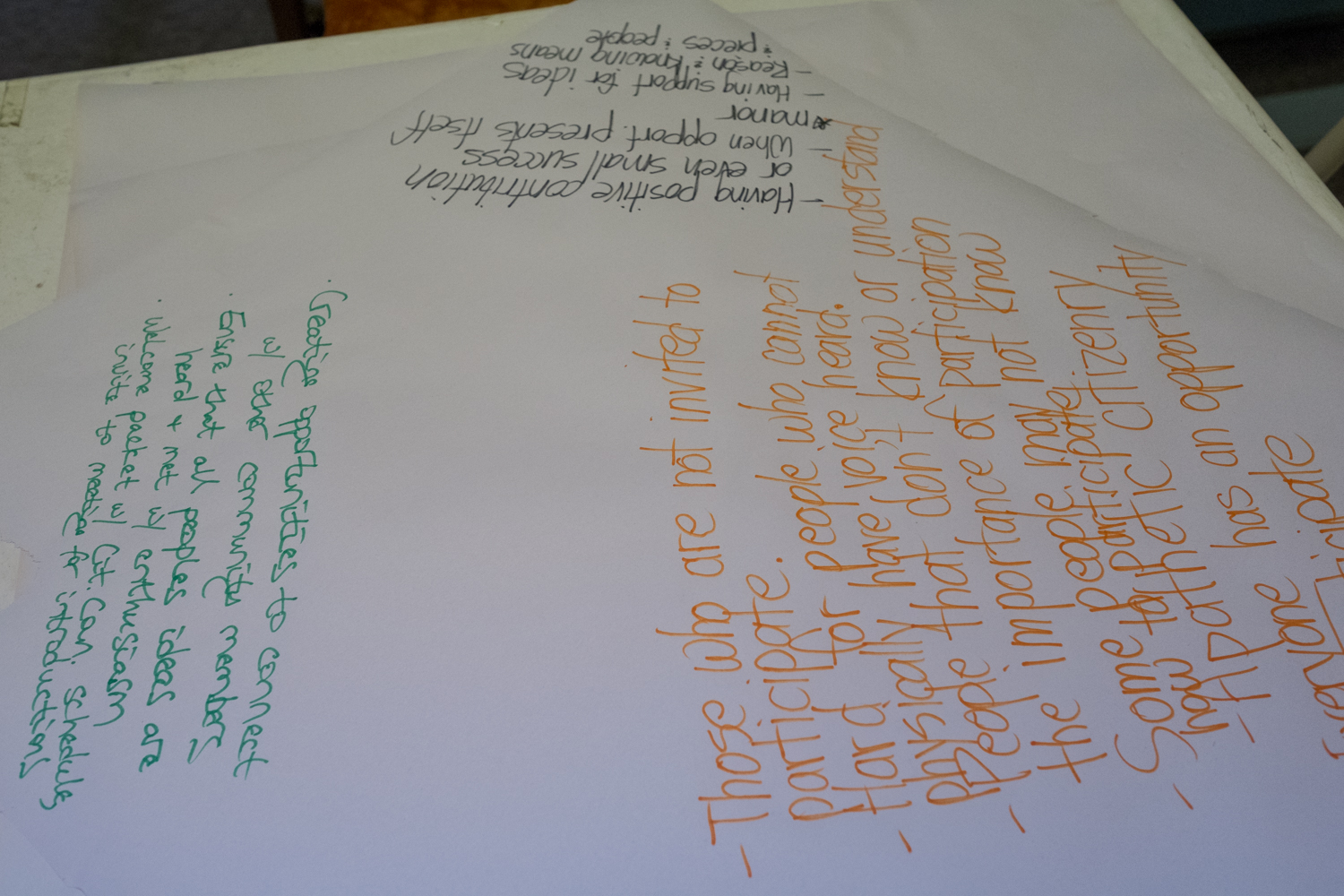 With paper placed at each table, notes from community conversations were recorded by citizens.