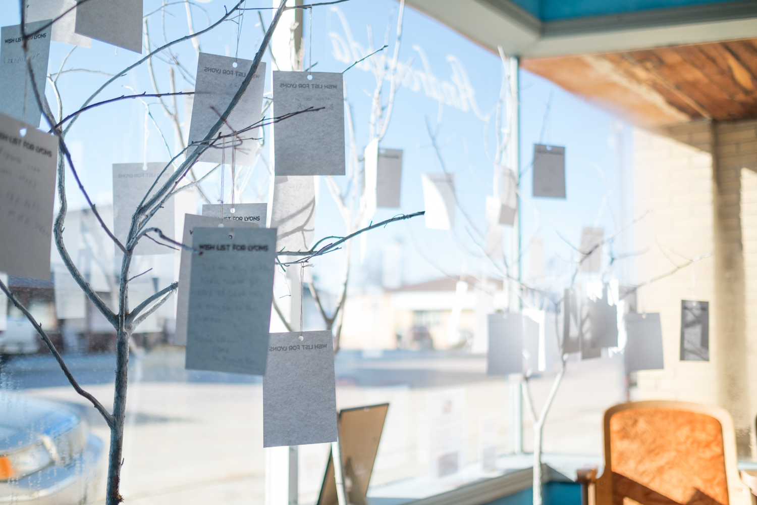 Wish lists made by Lyons citizens hang on display in the Andromeda Gallery storefront on Main Street.