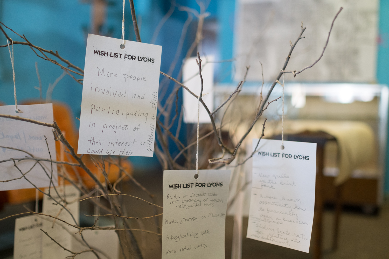 Tree of Wishes Lists made by Lyons citizens