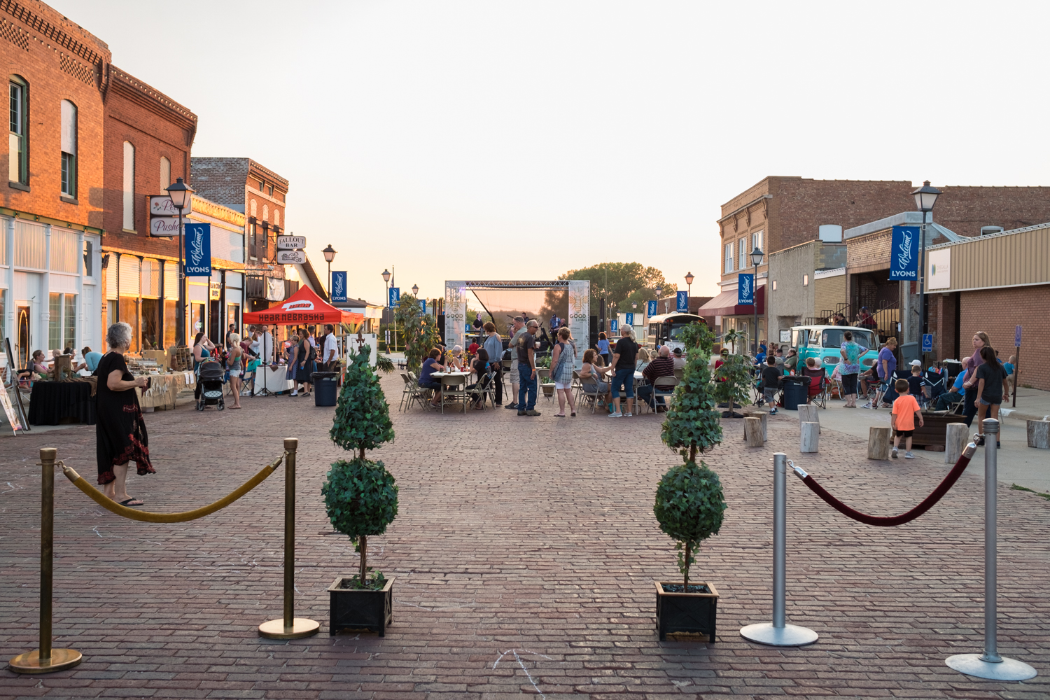 Looking west, a co-created Main Street transformation with Lyons citizens.