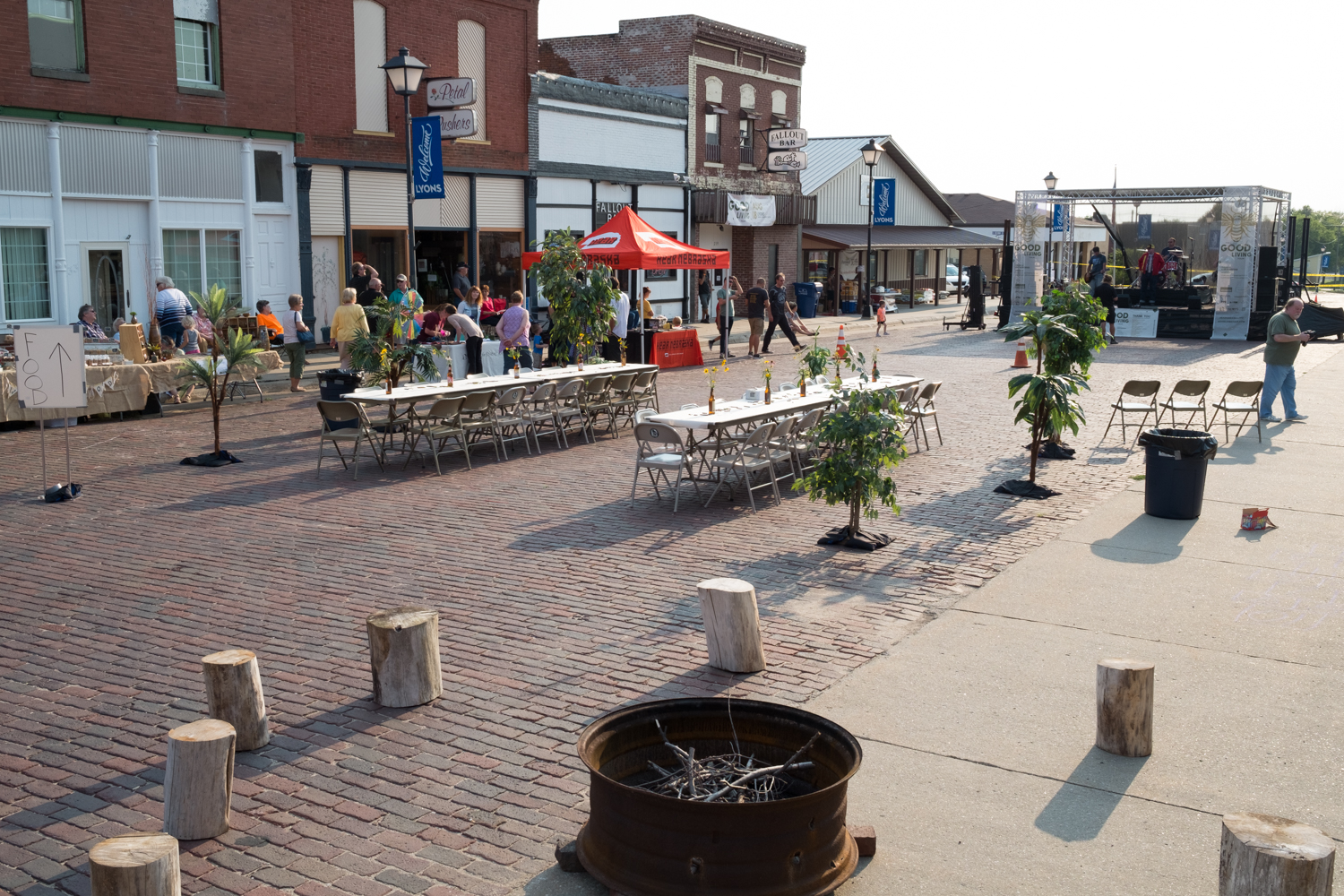 The Main Street design included a campfire setting with logs for additional seating options.
